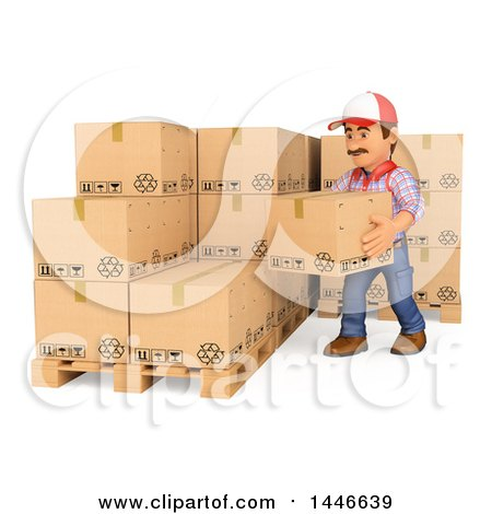 Clipart of a 3d Shipping Warehouse Worker Stacking Boxes, on a White Background - Royalty Free Illustration by Texelart