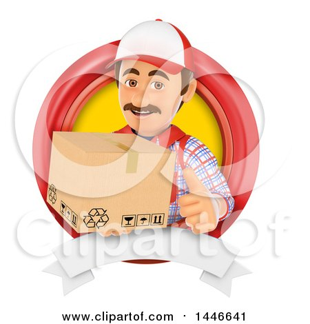 Clipart of a 3d Shipping Warehouse Worker, Mover or Delivery Man Holding a Box and Giving a Thumb up in a Circle, on a White Background - Royalty Free Illustration by Texelart