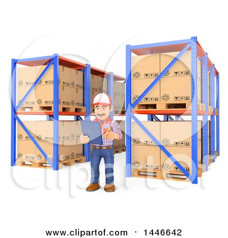 Clipart of a 3d Shipping Warehouse Worker Checking Pallets and Shelves and Using a List, on a White Background - Royalty Free Illustration by Texelart