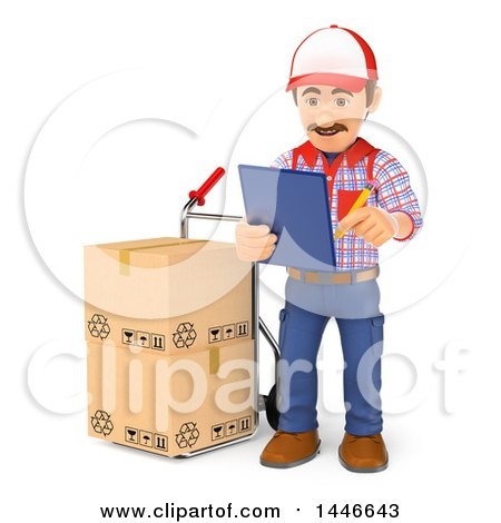 Clipart of a 3d Shipping Warehouse Worker Checking Packages on a Hand Truck, on a White Background - Royalty Free Illustration by Texelart