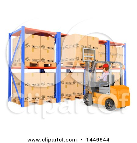 Clipart of a 3d Shipping Warehouse Worker Operating a Forklift and Pulling or Loading a Pallet, on a White Background - Royalty Free Illustration by Texelart