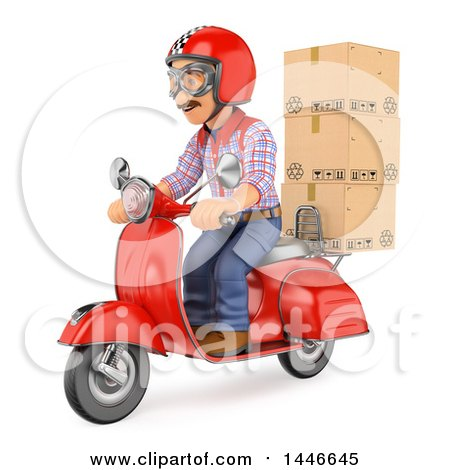 Clipart of a 3d Shipping Warehouse Worker, Delivery Man or Mover with Packages on a Scooter, on a White Background - Royalty Free Illustration by Texelart