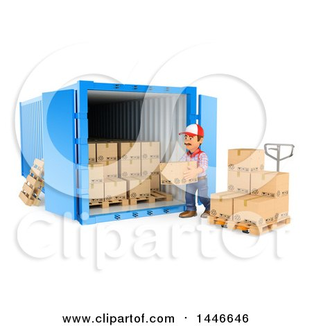Clipart of a 3d Shipping Warehouse Worker Loading or Unloading Boxes at a Cargo Container, on a White Background - Royalty Free Illustration by Texelart