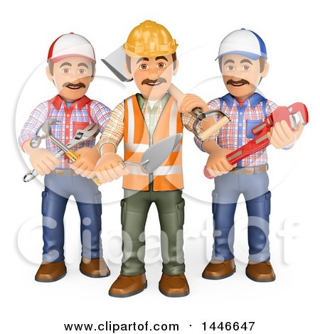 3d Group of Workers with Tools, on a White Background Posters, Art Prints
