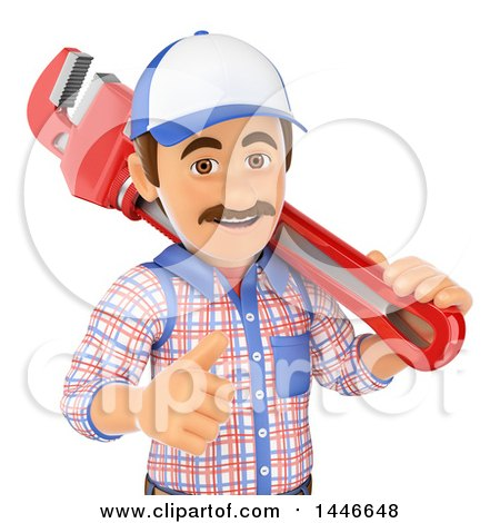 Clipart of a 3d Male Plumber Worker Giving a Thumb up and Holding a Monkey Wrench, on a White Background - Royalty Free Illustration by Texelart