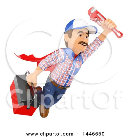 Clipart of a 3d Super Male Plumber Worker Flying with a Monkey Wrench and Tool Box, on a White Background - Royalty Free Illustration by Texelart
