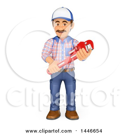 Clipart of a 3d Male Plumber Worker Holding a Monkey Wrench, on a White Background - Royalty Free Illustration by Texelart