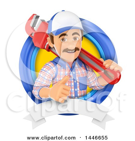 Clipart of a 3d Male Plumber Worker Holding a Monkey Wrench and Giving a Thumb up in a Circle, on a White Background - Royalty Free Illustration by Texelart