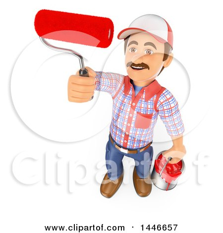 3d Painter Worker Holding a Bucket and Roller Brush, on a White Background Posters, Art Prints