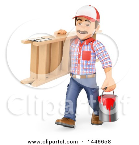 3d Painter Worker Carrying a Bucket and Ladder, on a White Background Posters, Art Prints