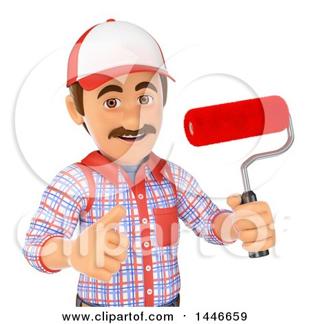 3d Painter Worker Holding a Roller Brush and Giving a Thumb Up, on a White Background Posters, Art Prints