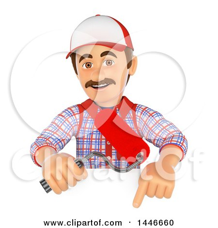 3d Painter Worker Holding a Roller Brush over a Sign, on a White Background Posters, Art Prints