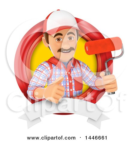 3d Painter Worker Giving a Thumb up and Holding a Paintbrush Roller in a Circle, on a White Background Posters, Art Prints