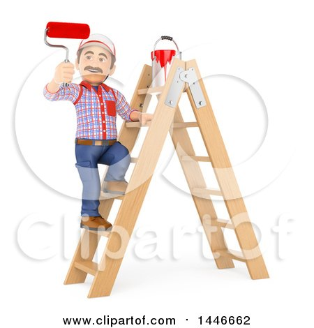3d Painter Worker Standing on a Ladder and Using a Roller Brush, on a White Background Posters, Art Prints
