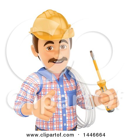 Clipart of a 3d Male Electrician Worker Giving a Thumb Up, Holding Wire and a Screwdriver, on a White Background - Royalty Free Illustration by Texelart