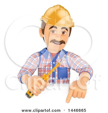 Clipart of a 3d Male Electrician Worker Holding a Screwdriver over a Sign, on a White Background - Royalty Free Illustration by Texelart