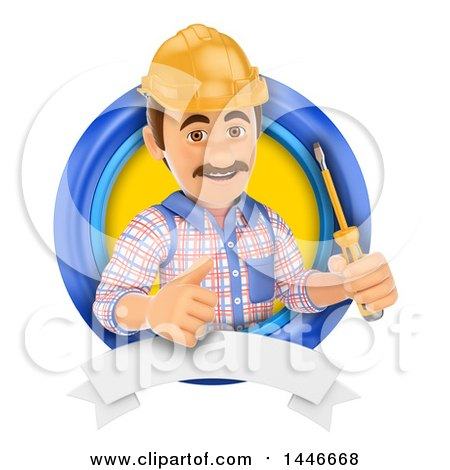 Clipart of a 3d Male Electrician Worker Holding a Screwdriver and Giving a Thumb up in a Circle, on a White Background - Royalty Free Illustration by Texelart