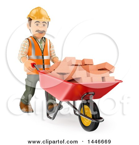 Clipart of a 3d Male Mason Worker Pushing a Wheelbarrow of Bricks, on a White Background - Royalty Free Illustration by Texelart