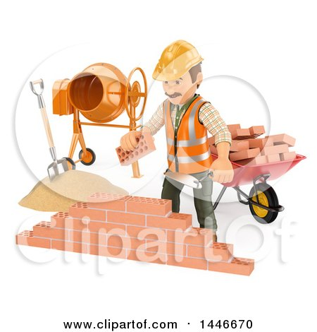 Clipart Of A 3d Male Mason Worker Laying Bricks On A White Background Royalty Free Illustration