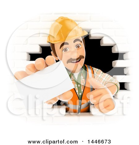 Clipart of a 3d Male Mason Worker Giving a Thumb up and Holding out a Business Card, Emerging from a Hole in a White Brick Wall, on a White Background - Royalty Free Illustration by Texelart