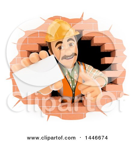 Clipart of a 3d Male Mason Worker Giving a Thumb up and Holding out a Business Card, Emerging from a Hole in a Brick Wall, on a White Background - Royalty Free Illustration by Texelart