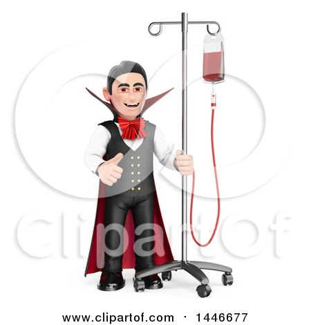 Clipart of a 3d Dracula Vampire Giving a Thumb Up, Hooked up to a Blood Bag, on a White Background - Royalty Free Illustration by Texelart