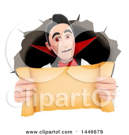 Clipart of a 3d Dracula Vampire Emerging from a Hole and Holding out a Blank Scroll, on a White Background - Royalty Free Illustration by Texelart