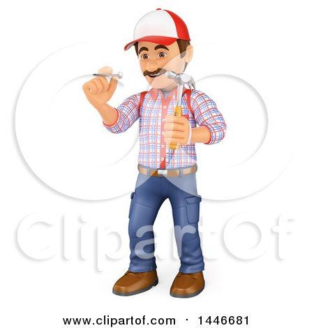 Clipart of a 3d Caucasian Worker Handy Man Holding a Nail and Hammer, on a White Background - Royalty Free Illustration by Texelart