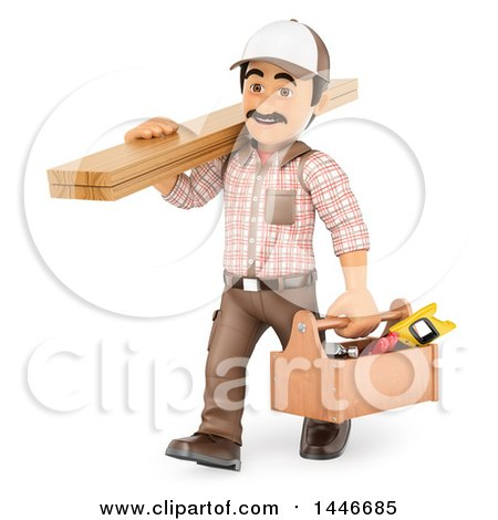 Clipart of a 3d Male Carpenter Carrying Lumber and a Tool Box, on a White Background - Royalty Free Illustration by Texelart