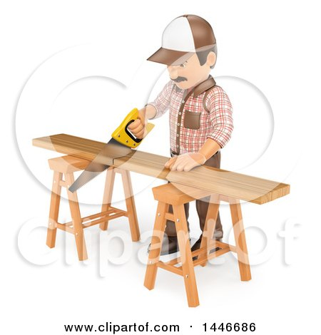 Clipart of a 3d Male Carpenter Cutting a Board with a Saw, on a White Background - Royalty Free Illustration by Texelart
