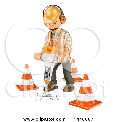 Clipart of a 3d Construction Worker Operating a Jackhammer, on a White Background - Royalty Free Illustration by Texelart
