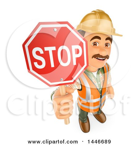 Clipart of a 3d Construction Worker Holding up a Stop Sign, on a White Background - Royalty Free Illustration by Texelart