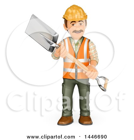 Clipart of a 3d Construction Worker Carrying a Shovel, on a White Background - Royalty Free Illustration by Texelart