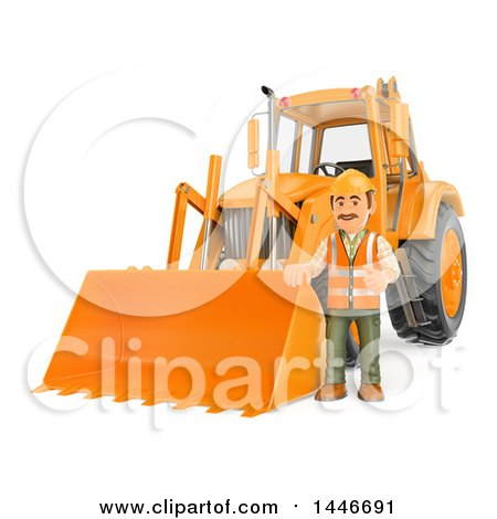 3d Construction Worker Giving a Thumb up by an Orange Backhoe, on a White Background Posters, Art Prints