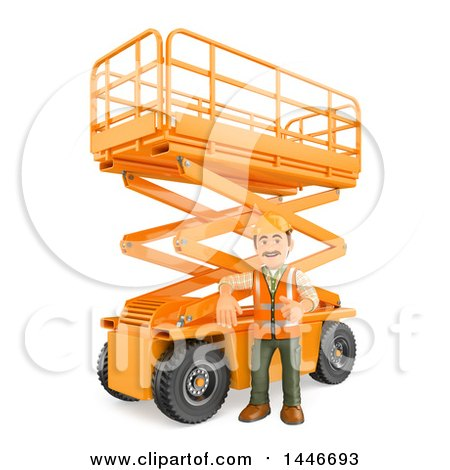 Clipart of a 3d Construction Worker Giving a Thumb up by a Scissor Lift, on a White Background - Royalty Free Illustration by Texelart
