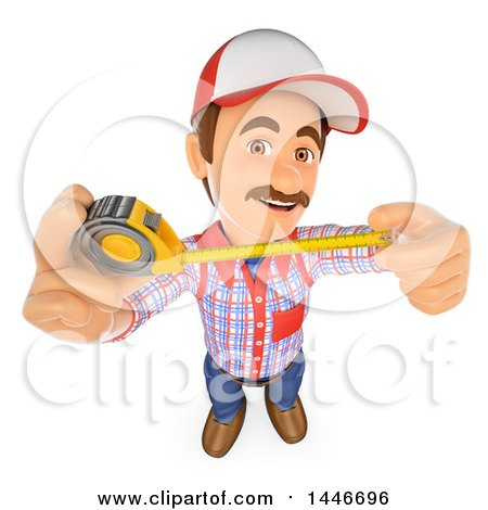 Clipart of a 3d Caucasian Worker Handy Man Using a Tape Measure, on a White Background - Royalty Free Illustration by Texelart