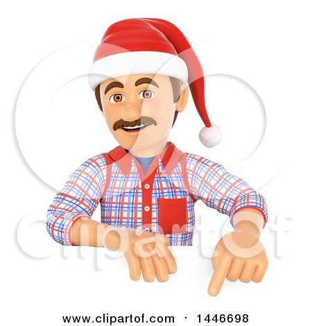 3d Caucasian Worker Handy Man Wearing a Christmas Santa Hat and Pointing over a Sign, on a White Background Posters, Art Prints