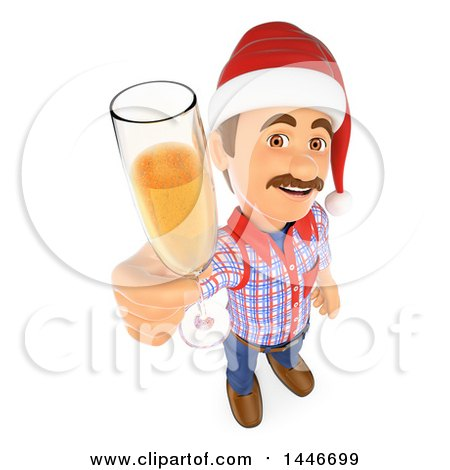 3d Caucasian Worker Handy Man Wearing a Christmas Santa Hat and Toasting with Champagne, on a White Background Posters, Art Prints