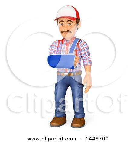 3d Injured Caucasian Worker Handy Man with His Arm in a Sling, on a White Background Posters, Art Prints