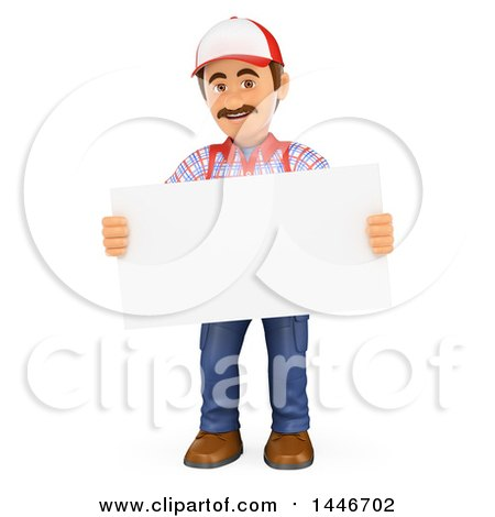 Clipart of a 3d Caucasian Worker Handy Man Holding a Blank Sign, on a White Background - Royalty Free Illustration by Texelart