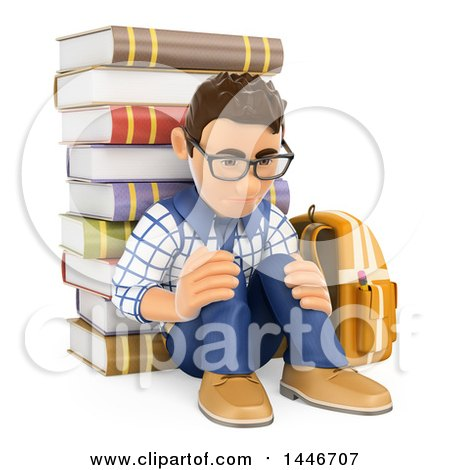 Clipart of a 3d Sad Caucasian Teenage Guy Leaning Against a Satck of Books, on a White Background - Royalty Free Illustration by Texelart
