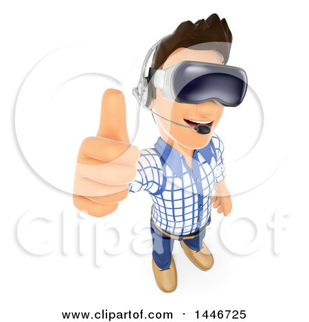 Clipart of a 3d Caucasian Teenage Guy Holding up a Thumb and Wearing Virtual Reality Glasses, on a White Background - Royalty Free Illustration by Texelart