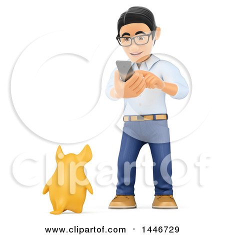 Clipart of a 3d Caucasian Teenage Guy , on a White Background - Royalty Free Illustration by Texelart