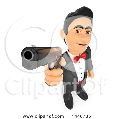Clipart of a 3d Man in a Tuxedo, Pointing a Gun, on a White Background - Royalty Free Illustration by Texelart