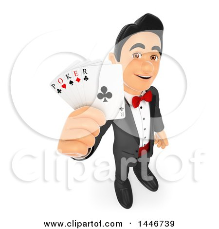 Clipart of a 3d Man in a Tuxdo, Holding up Poker Playing Cards, on a White Background - Royalty Free Illustration by Texelart