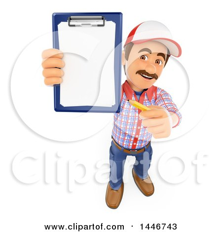 Clipart of a 3d Caucasian Worker Handy Man Holding up a Pencil and Clipboard, on a White Background - Royalty Free Illustration by Texelart