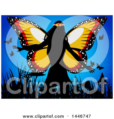 Clipart of a Silhouetted Fairy Queen Wearing a Flower Crown, over Grasses, Mushrooms and Butterflies on Blue - Royalty Free Vector Illustration by elaineitalia