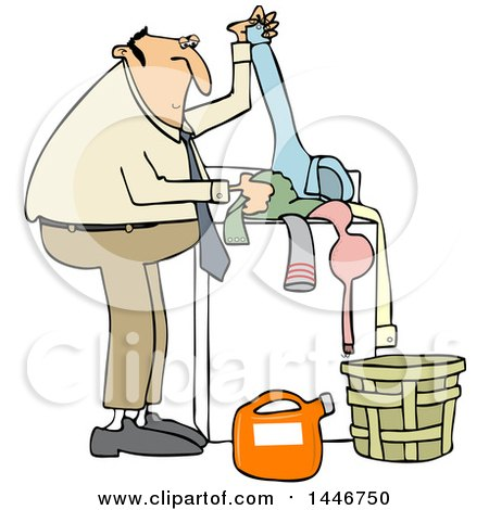 Clipart of a Cartoon Chubby White Man Doing Laundry - Royalty Free Vector Illustration by djart