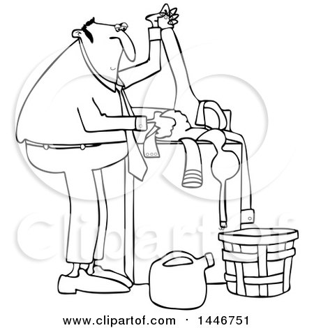 Cartoon Black And White Lineart Chubby Man Doing Laundry By Djart
