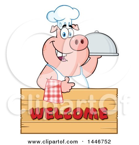 Cartoon Clipart of a Chef Pig Giving a Thumb up and Holding a Cloche Platter over a Welcome Sign - Royalty Free Vector Illustration by Hit Toon